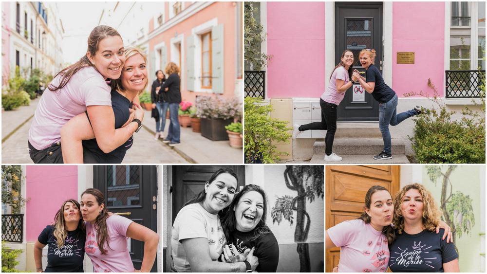 copines - future mariée - rires - portraits - rue - Paris - enterrement de vie de jeune fille