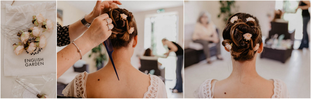 coiffure naturelle - mariee champetre - english garden - roses dans les cheveux - mariage boheme - eure et loir - photographe mariage