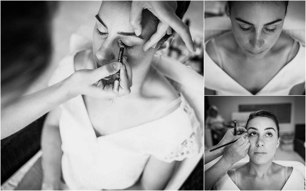 crayon noir - maquillage de la mariee - preparatifs - mariage champetre - noir et blanc - photographe mariage - eure et loir - photographe mariage eure