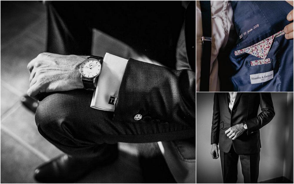 costume du marie blandin & delloye - preparatifs du marie - boutons de manchette - noir et blanc - photographe mariage eure et loir - champetre
