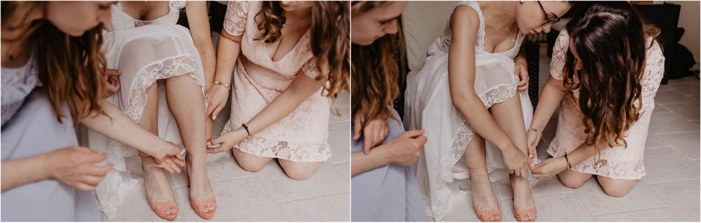 repetto - chaussures de la mariee - robe rembo styling - habillage de la mariee avec ses temoins - photographe mariage