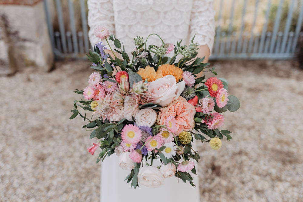 bouquet champetre - bouquet de la mariée - grange de renneville - mariage champetre en normandie - photographe mariage eure