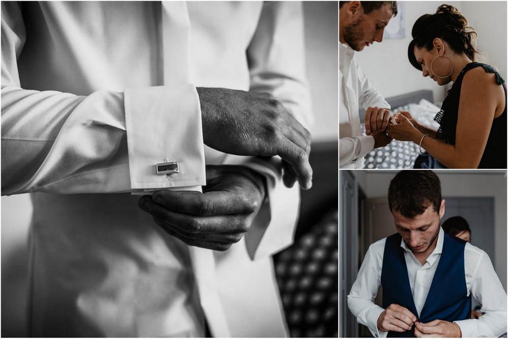 habillage du marié - boutons de manchette - mariage champetre en normandie - photographe mariage eure - calvados