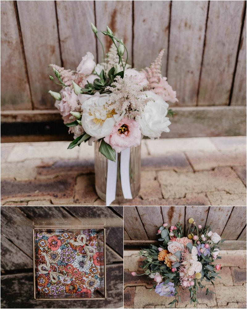 alliances - bouquet de la mariée - pivoines - eucalyptus - mariage champetre en normandie