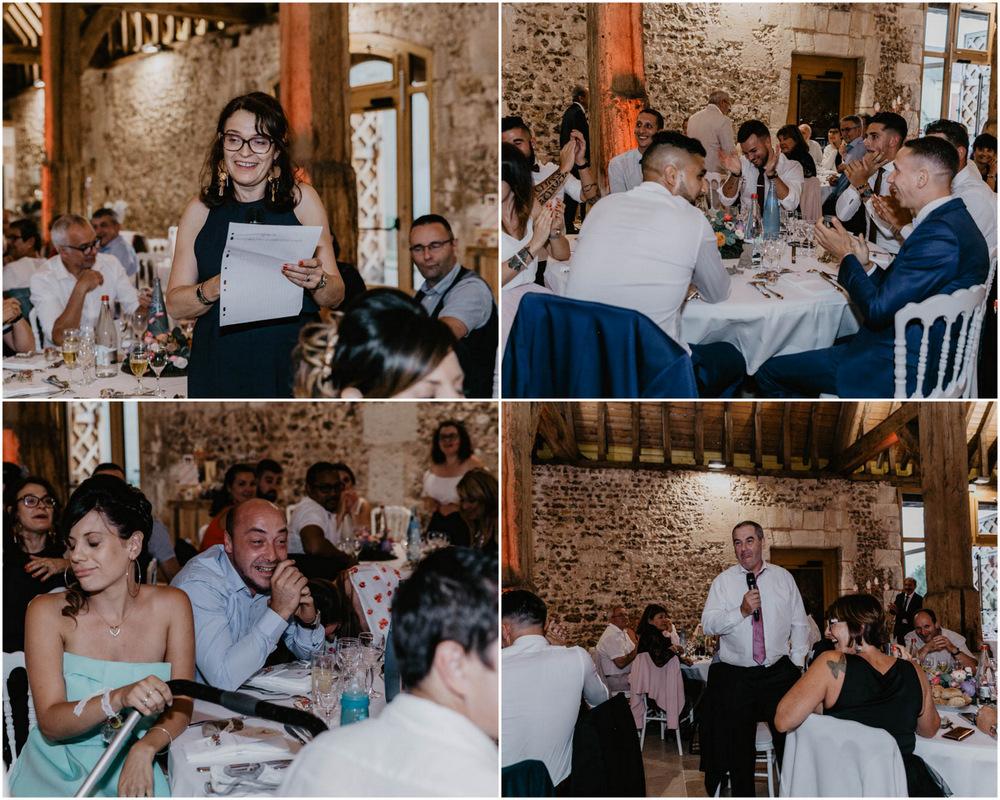 soirée de mariage - repas à table - discours - grange de renneville - photographe mariage eure - evreux