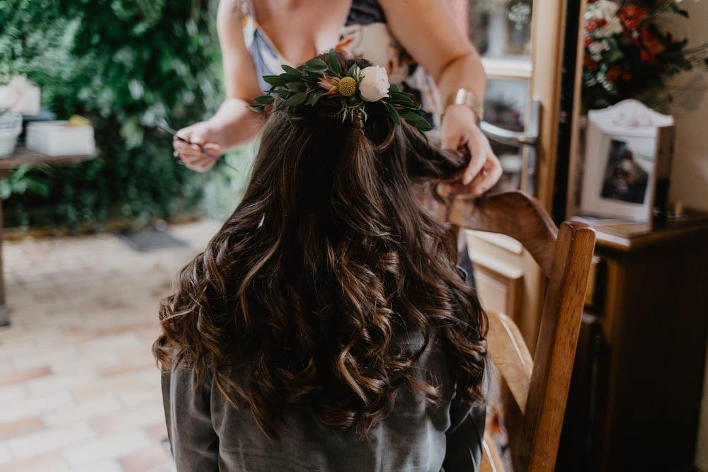 coiffure de la mariée - mariage bohème - mariage champetre chic - en normandie - dans l'eure - photographe mariage - calvados