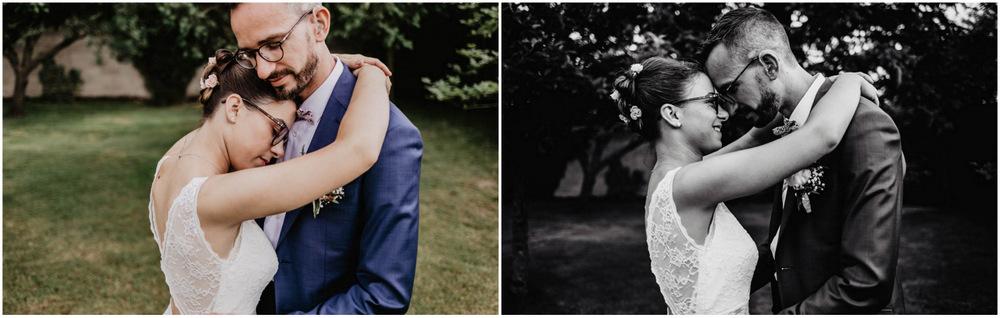 mariage en eure et loir - photographe mariage - noir&blanc - photo de couple - champetre