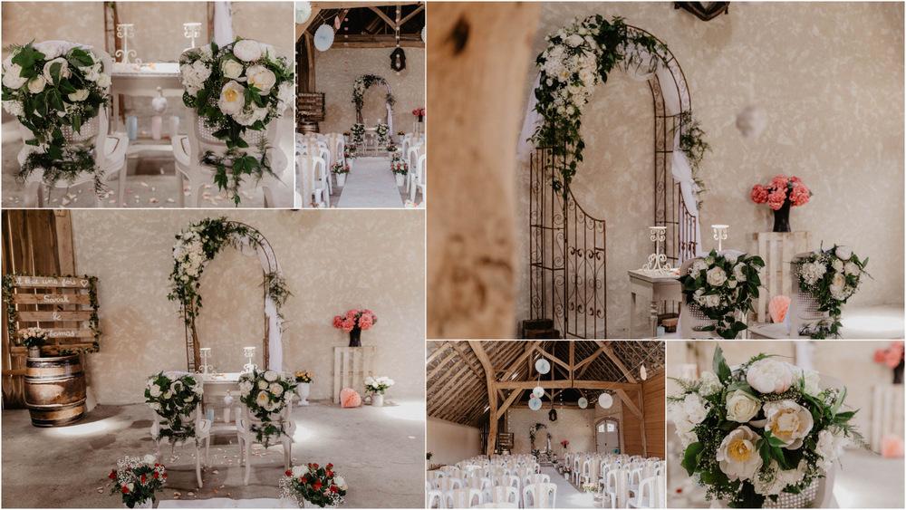 ferme de fouville - grange - bois - fleurs - pivoines - cérémonie laique - chartres - photographe mariage eure et loir