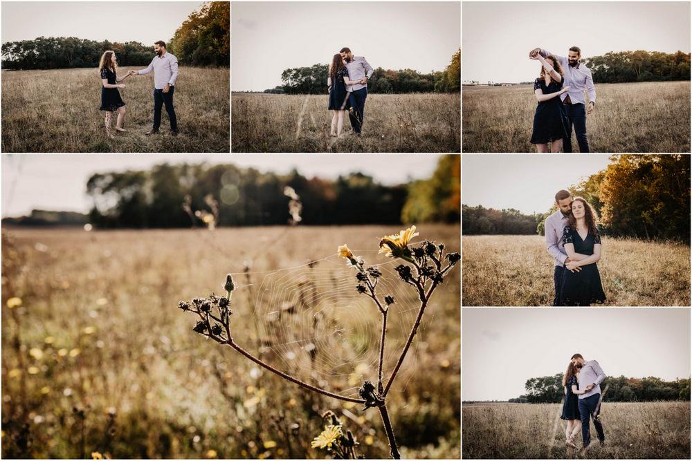 coucher du soleil - seance photo - campagne - champs - une seance engagement - photographe mariage - rousse - danse