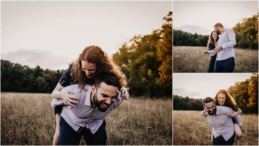 lumiere doree - golden hour - coucher du soleil - photographe mariage - futurs maries - saute mouton - rousse - une seance engagement - seance photo en amoureux - shooting photo de couple