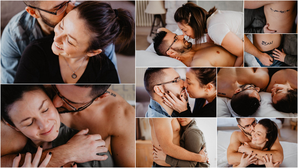 seance photo couple - eure et loir photographe - cocooning - intime - tendresse - sensuel