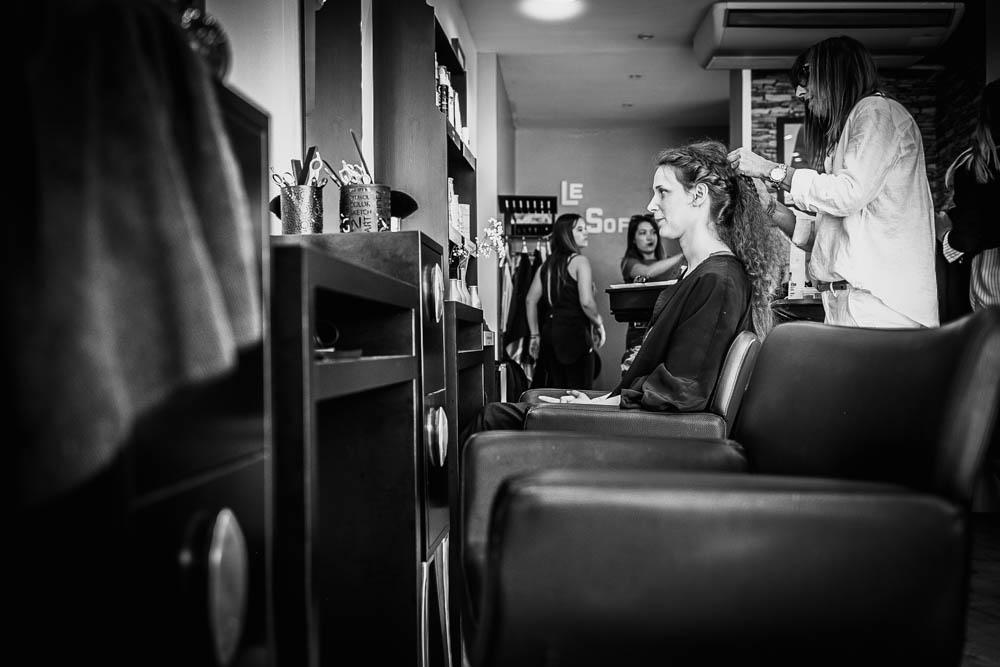 coiffure de mariee - salon de coiffure - noir et blanc - mariage au manoir de vacheresses