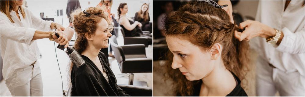 preparatifs coiffure - mariee - natte cheveux - tresse cheveux - rousse - champetre