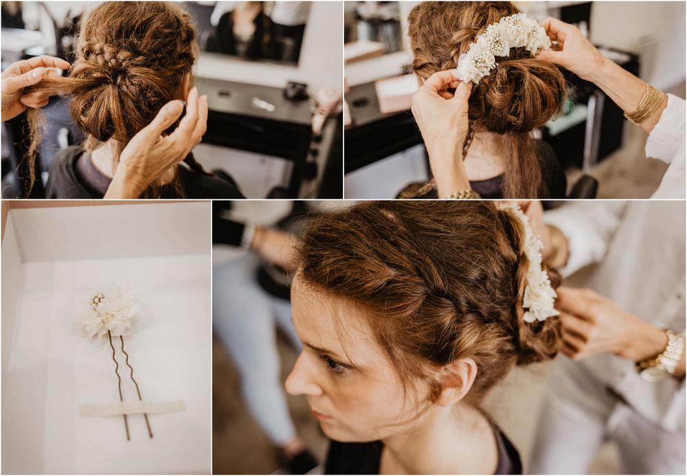 chignon champetre - tresses dans les cheveux - couronnes de victoire - fleurs dans les cheveux