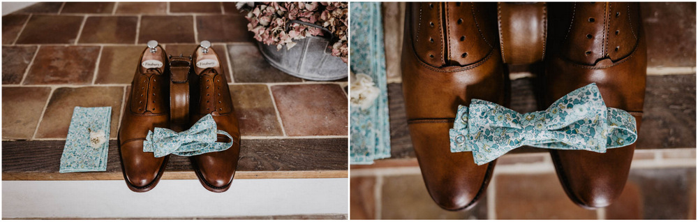 chaussures du marie - noeud pap - colonel moutarde - pochette liberty - boutonniere - photographe mariage eure et loir - clos saint laurent