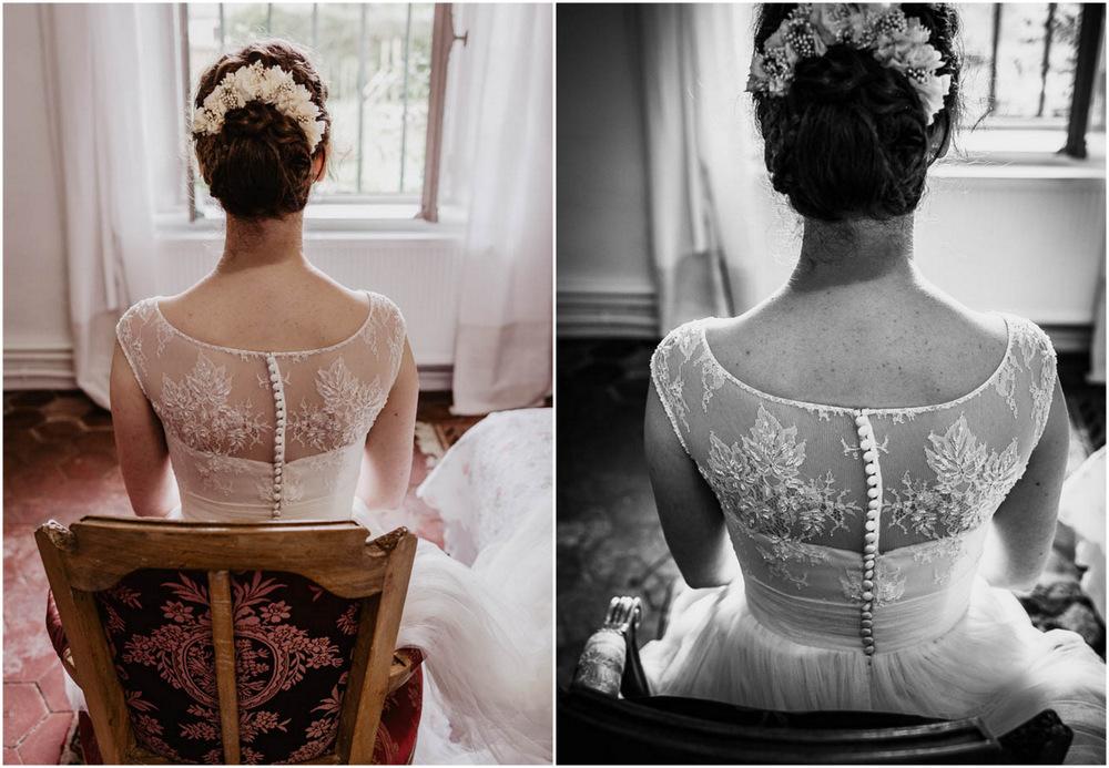 mariage au manoir de vacheresses - couronnes de victoire - robe de mariee - dentelle - photographe de mariages