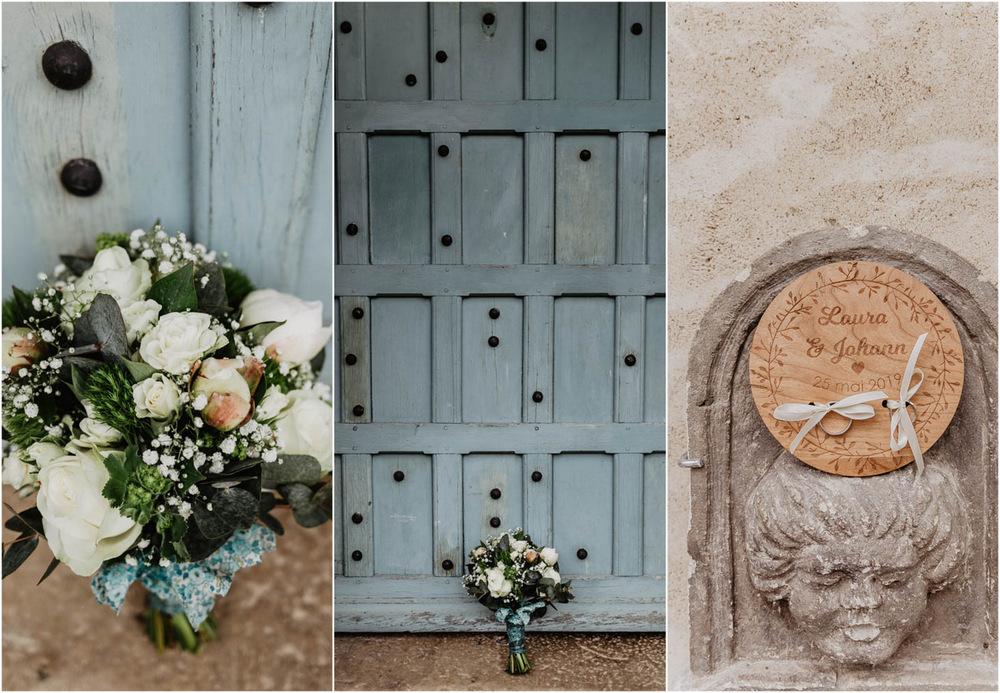 photos de detail de mariage - bouquet de la mariee - roses blanches - liberty bleu - alliances - photographe mariage en eure et loir - mariage au manoir de vacheresses