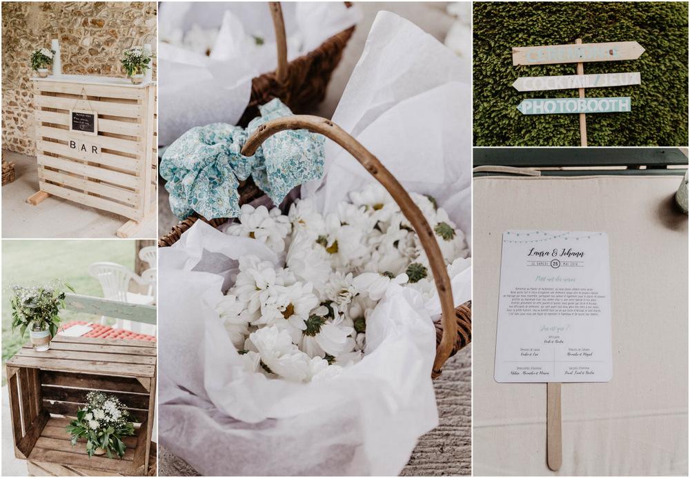 decoration champetre - mariage champetre - marguerites - ceremonie laique - manoir en eure et loir - photographe de mariages