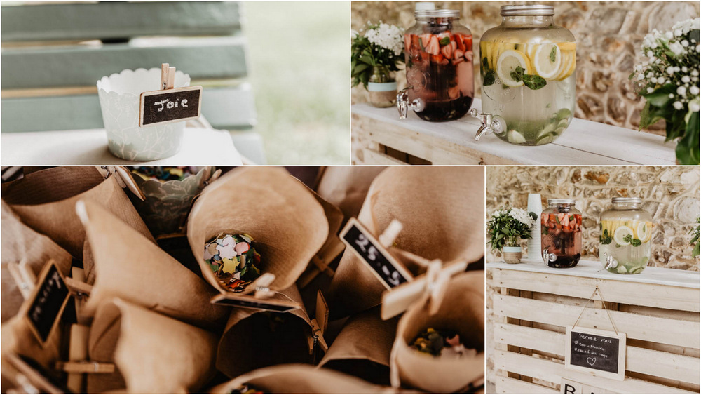 photographe mariages - decoration champetre - confettis - fruits - manoir de vacheresses - joie