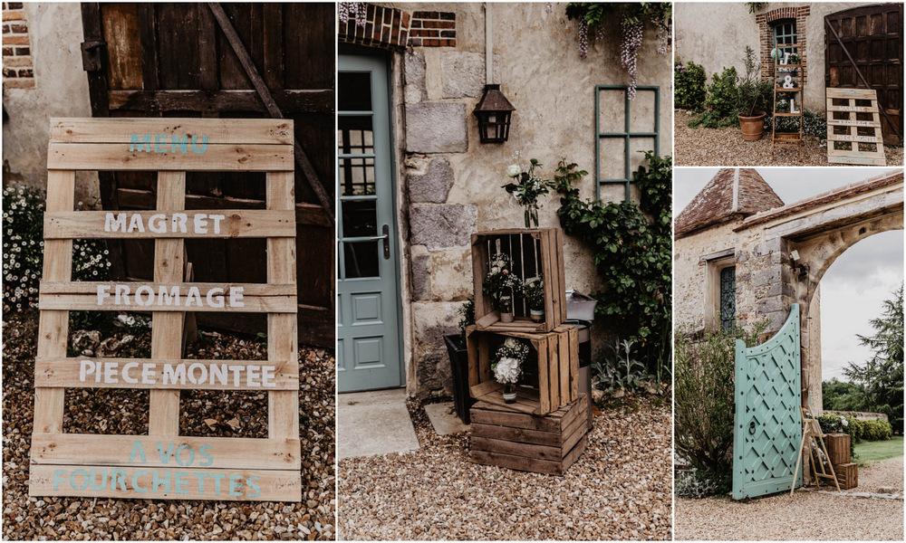 palettes en bois - caisses en bois - decoration champetre - mariage au manoir de vacheresses - photographe en eure et loir