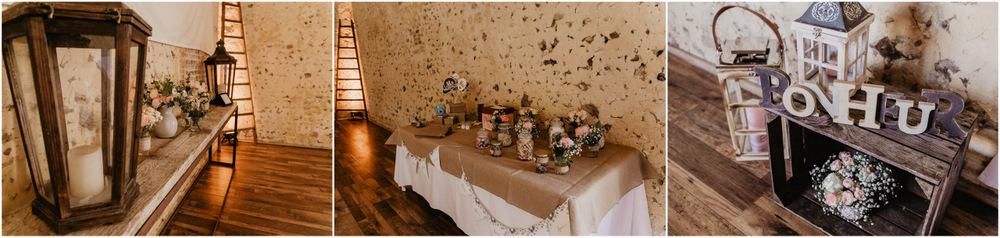 decoration de salle - domaine des evis - champetre - boheme - chic - vieilles pierres