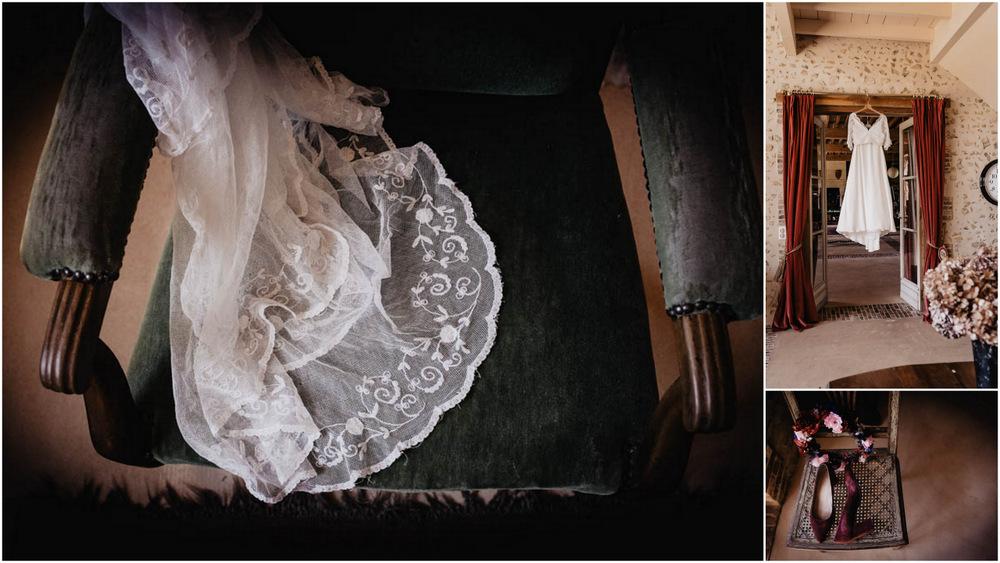 voile de la mariee - robe de mariee - chaussures de la mariee - velours - bordeaux - couronnes de fleurs - vieilles dentelles - photographe mariage - domaine des evis