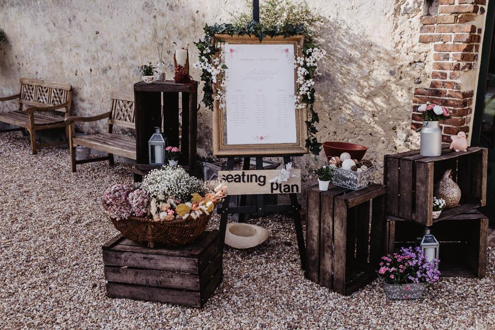 plan de table - vieilles caisses en bois - seating plan - domaine des evis - champetre - photographe eure et loir - verneuil sur avre - chartres - evreux